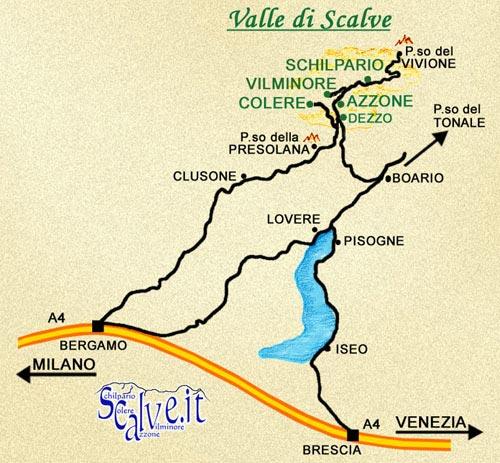 La cartina stradale della Val di Scalve