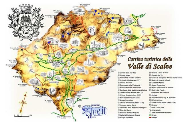 La cartina turistica delle Val di Scalve