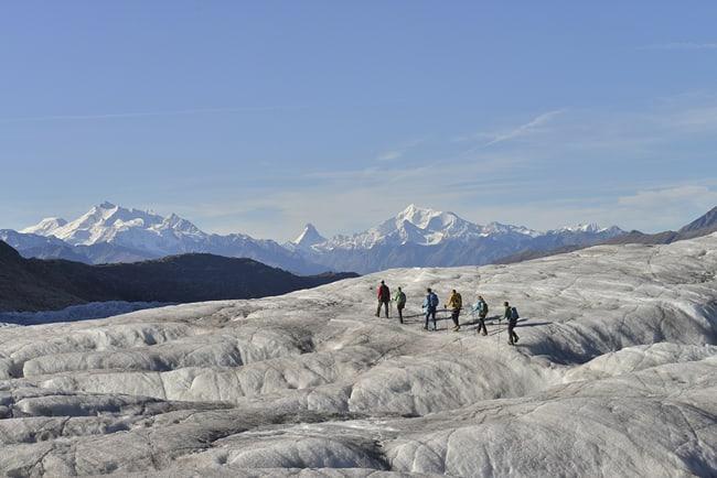 Sommer, Gletschtertour, Aletschgletscher, Gruppentour, Bergführer, Rundtour, Rollibock, Gletscherambassadoren, Gletscher intensiv, Naturerlebnis, Naturphänomen, bewegend, rein, einzigartig