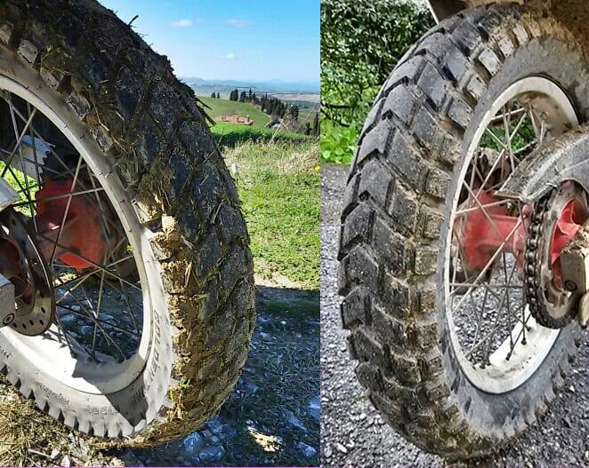 La gomma si stucca rapidamente sul fango morbido; e si ripulisce rapidamente.