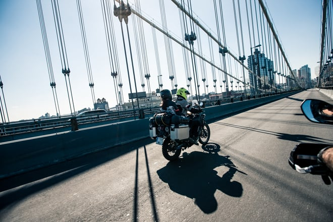 Cinque consigli per viaggiare in coppia in motocicletta. Jorg Badura 2016 Around Gaia in New York City