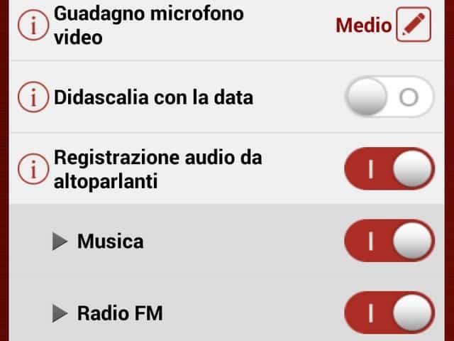 Sena 10c. schermata delle funzioni modificabili attraverso l'applicazione sullo smartphone