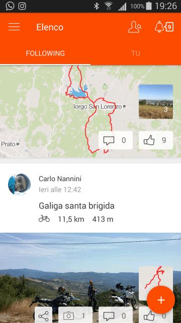 Navigare col GPS a costo zero. La schermata della app dove si vedono i percorsi registrati