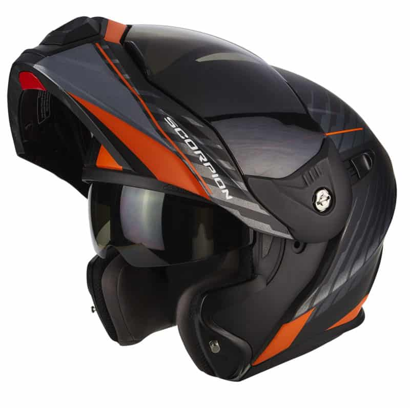 Scorpion ADX-1 DUAL Matt Black-Silver Orange-Open no visor