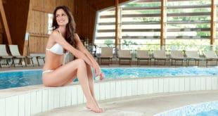 Happy girl at pool