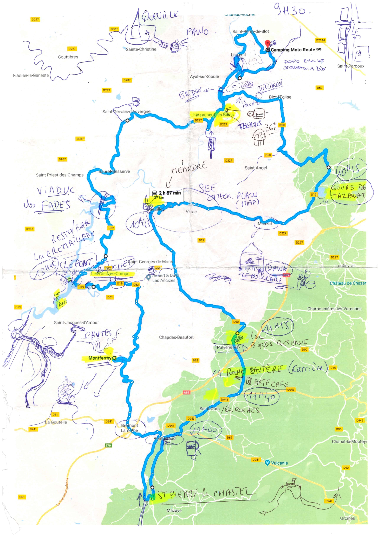 Mappa itinerario Puy de Dome
