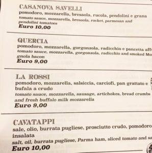 Tavullia menu pizza